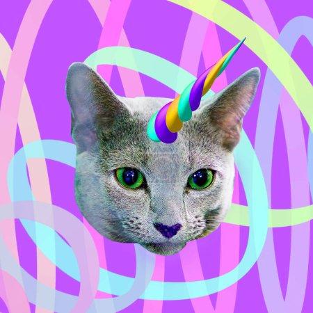 Contemporary fun art collage. Minimal concept.  Dream lover. Cat unicorn stuff
