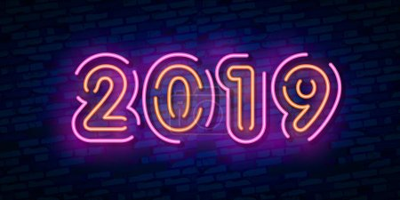 2019 Happy New Year Neon Text. 2019 New Year Design template for Seasonal Flyers and Greetings Card or Christmas themed invitations. Light Banner. Vector Illustration.