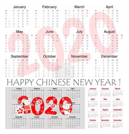 鼠年2020矢量日历,手绘的老鼠每月的图和手写的符号。鼠年。周从星期日开始._高清图片_邑石网