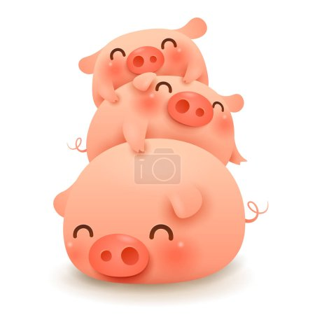 Pig pile. Three little pigs. Chinese New Year. The year of the pig. Chinese zodiac: Pig - the symbol of the year 2019 on the Chinese calendar.