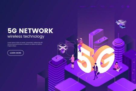 5g 网络无线技术矢量图解。i推荐人智慧城市与大字母5g 和小的人。连接全球网络的现代城市。城市环境中的互联网。epps 10._高清图片_邑石网