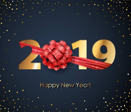 2019 Happy New Year background. Seasonal greeting card template.