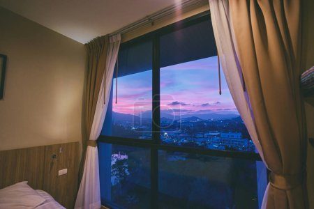 Beautiful sunset view from bedroom window.