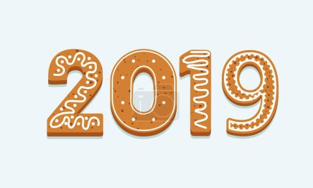 Vector 2019 New Year background made of ginger cookies on white background.