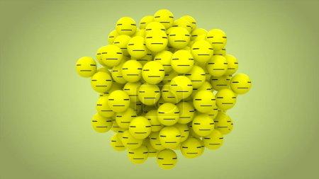 3D rendering. Emoji bored green ball on green background.