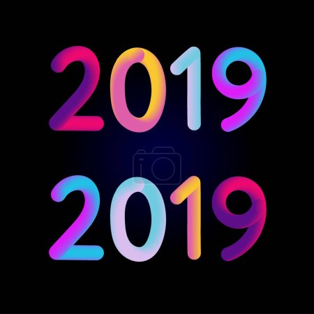 2019 New Year 3D card Banner Vector Illustration