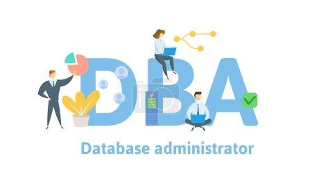 Dba,数据库管理员。与人,字母和图标的概念。平面矢量插图。在白色背景上隔离._高清图片_邑石网