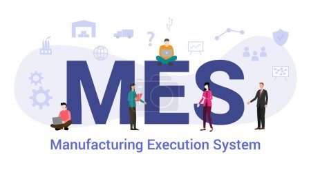 mes manufacturing execution system concept with big word or text and team people with modern flat style - vector_高清图片_邑石网