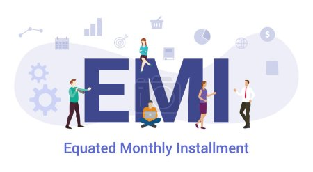 emi equated monthly installment concept with big word or text and team people with modern flat style - vector_高清图片_邑石网
