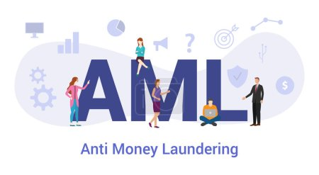 aml anti money laundering concept with big word or text and team people with modern flat style - vector_高清图片_邑石网