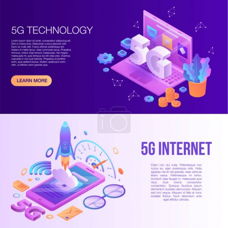 5G technology banner set, isometric style
