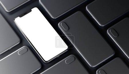 彩色智能手机与一个打开屏幕_高清图片_邑石网