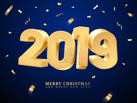 Golden 2019 happy new year and merry christmas