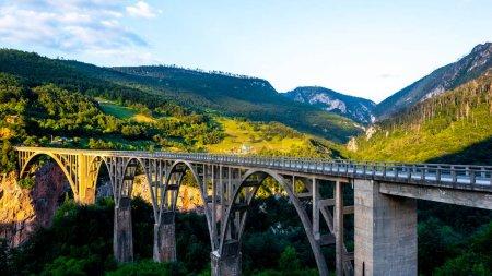 Tara Bridge and beautiful mountains in Montenegro