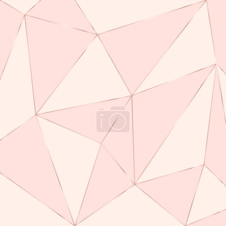 Gold line on pastel pink background, abstract artistic of geometric background