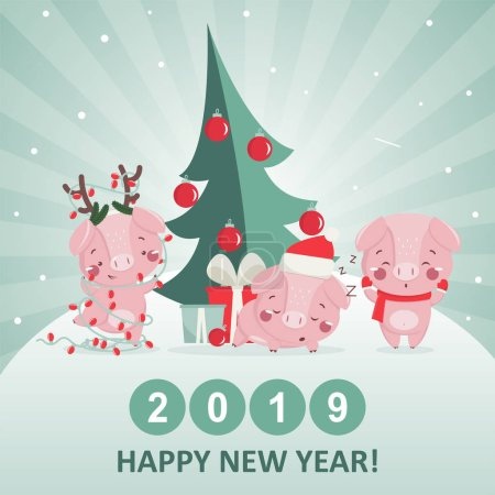 Happy new year greeting card with cute pig.