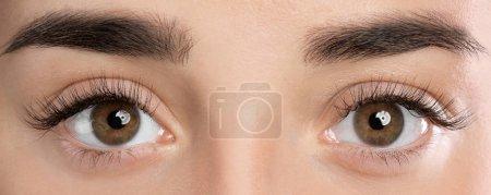 美丽的年轻女子与睫毛延伸特写镜头视图_高清图片_邑石网