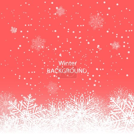 White snowflakes on red background. winter background