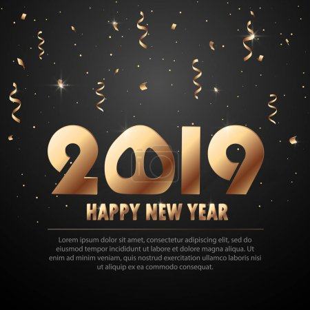 Vector 2019 New Year Black background with gold glitter confetti splatter texture. Festive premium design template for holiday greeting card, invitation, calendar poster