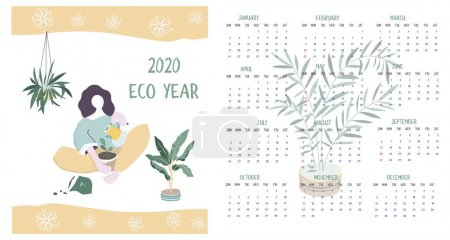 日历 2020.日历现代设置与女人和植物简约的几何斯堪的纳维亚风格和时尚的颜色。周从星期日开始。12 个月简约日历集。平面插图_高清图片_邑石网
