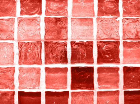 Color of year 2019 - Living Coral. Bright mosaic texture of tiles.