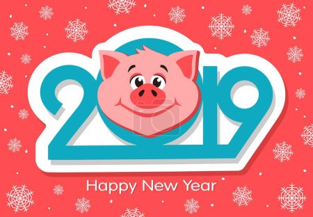 Happy New Year greeting card design with cartoon pigs face on pink background. Blue text - 2019. Flat style. Vector illustration.