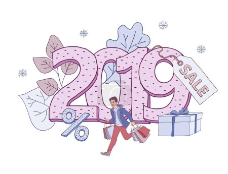 Vector illustration of 2019 New Year and Christmas holiday sales banner.