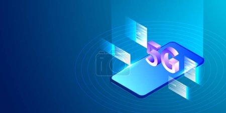 5g 智能手机网络技术等轴测概念。矢量插图._高清图片_邑石网