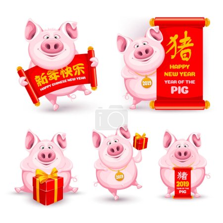 Set of cute and funny cartoon pigs. The symbol of the Chinese new 2019 year. Characters on scroll mean Happy New Year and Pig. Vector illustration. Isolated on white background.