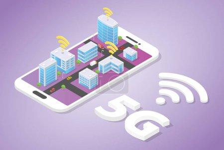 5g 智能城市建设技术的 5g 网络,在智能手机顶部提供 wifi 信号,具有等轴测现代风格 - 矢量_高清图片_邑石网