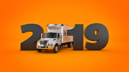 Refrigerated Truck concept 2019 New Year sign. 3d rendering.