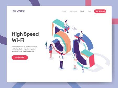 高速 Wi-Fi 插图概念的着陆页模板. _高清图片_邑石网