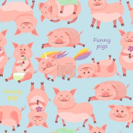 Seamless pattern with Funny Piggy symbol 2019 new year. Piglet smiles, sits, lies, eats porridge, sleeps, pig unicorn.