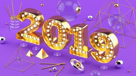 2019 Happy New Year isometric closeup 3D installation with 2019 numbers on ultraviolet background.