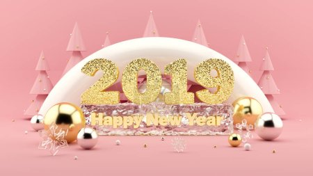 2019 Happy New Year Wish 3D composition in millennial pink colors and Christmas trees with decorations around.