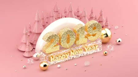 2019 Happy New Years Wish isometric 3D installation for New Years and Christmas banners and posters.