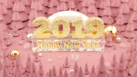 Happy New Year 2019 Millennial pink colored 3D illustration with Christmas trees and decorations
