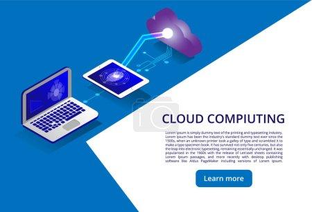 等轴测现代云技术和网络概念。Web 云技术业务。云计算在线存储_高清图片_邑石网