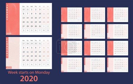 2020年日历。珊瑚和白色。矢量 Eps10._高清图片_邑石网