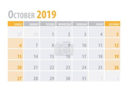 十月。日历规划2019在干净的最小表简单样式。向量例证._高清图片_邑石网