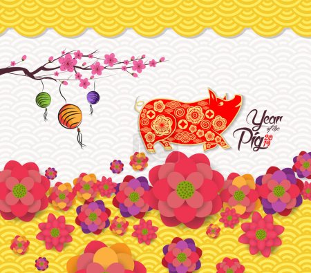 2019 chinese new year greeting card with traditionlal blooming border. Year of pig