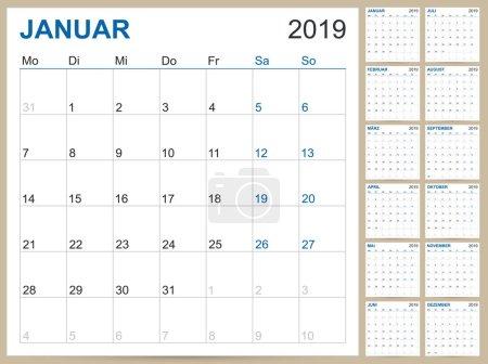 德国计划日历 2019, 日历模板为2019年, 设置12月, 星期开始在星期一, 可打印日历模板向量例证_高清图片_邑石网