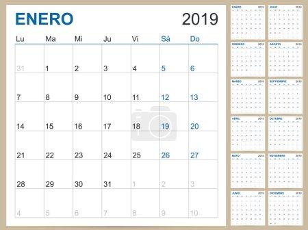 西班牙计划日历 2019, 西班牙日历模板为2019年, 设置12月, 星期开始在星期一, 可打印日历模板向量例证_高清图片_邑石网