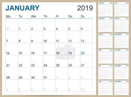 英文规划日历 2019, 英文日历模板2019年, 集12月, 周始于星期一, 可打印日历模板矢量插图_高清图片_邑石网