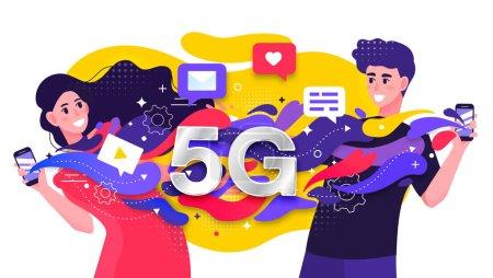 五颜六色的矢量插图描绘了一个5g蜂窝网络与两个快乐的年轻人快速流约会数据之间的手机或智能手机_高清图片_邑石网