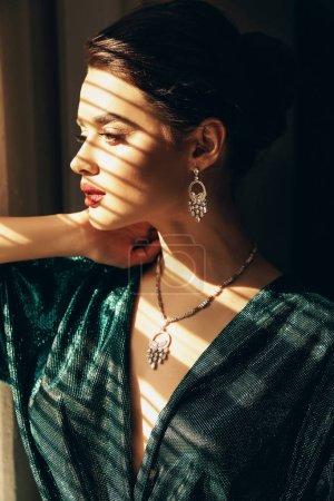 时尚工作室照片的美丽的年轻女子与深色的头发和完美的发光皮肤, 优雅的礼服和珠宝