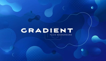 Colorful blue geometric background pattern. Fluid shapes composition with trendy gradients.