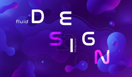 Colorful geometric purple background pattern. Fluid shapes composition with trendy gradients.