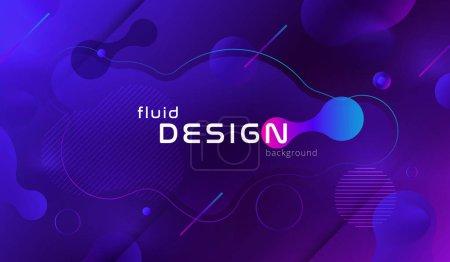 色彩鲜艳的几何背景设计。具有时髦渐变的流体形状组成。Eps10 矢量