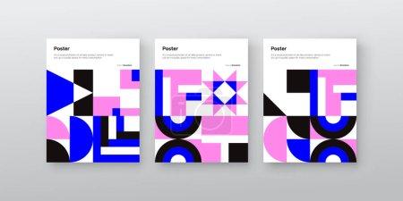 用矢量抽象元素和几何形状创作的矢量招贴画集封面的平面设计,对招贴画艺术、头版设计、装饰版画具有一定的启发作用_高清图片_邑石网